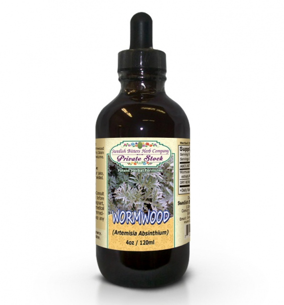 Wormwood Leaf, tincture (4oz/118ml) - Swedish Bitters Herb Company Private Stock