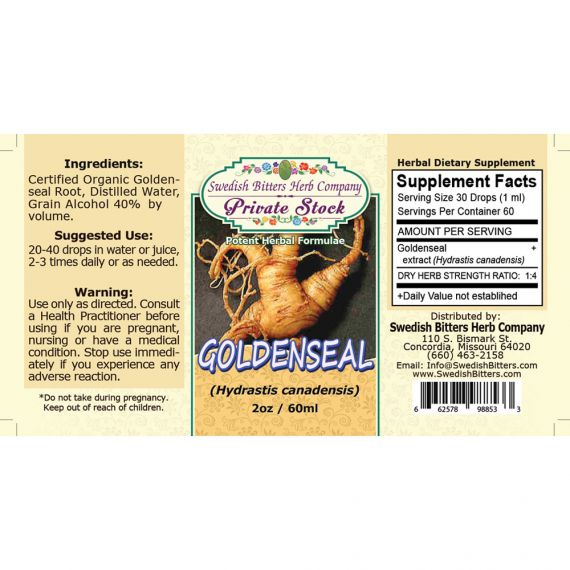 Goldenseal Root, tincture - (2oz/59ml) - Swedish Bitters Herb Company Private Stock