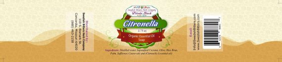 Citronella 3.75oz Bar Essential Oil Soap - Swedish Bitters Herb Company Private Stock