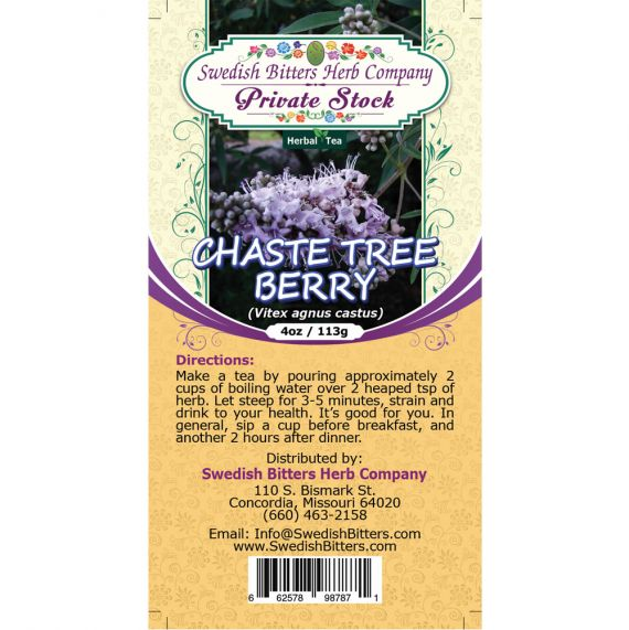 Chaste Tree Berry (Vitex agnus castus) Herbal Tea (4oz/113g) - Swedish Bitters Herb Company Private Stock