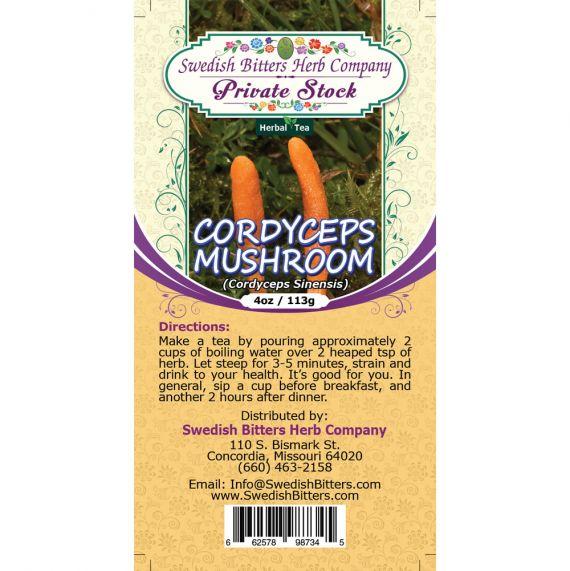 Cordyceps Mushroom (Cordyceps Sinensis ~ Cordyceps Gracilis) Herbal Tea (4oz/113g) - Swedish Bitters Herb Company Private Stock