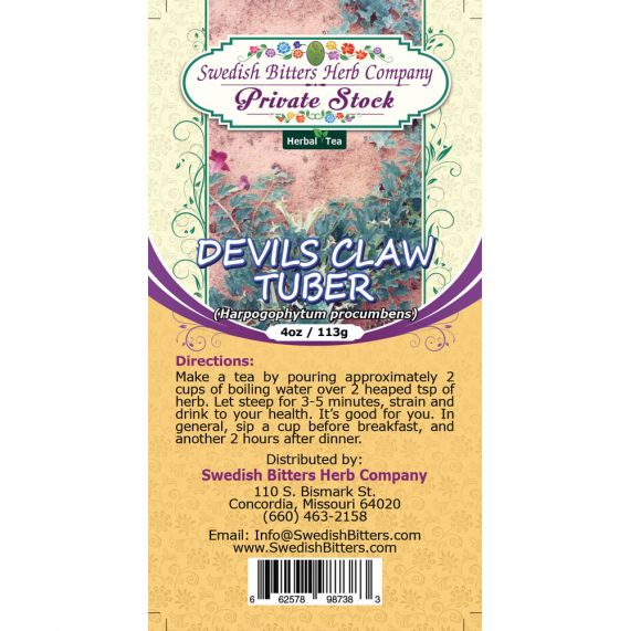 Devil's Claw Tuber (Harpagophytum procumbens) Herbal Tea (4oz/113g) - Swedish Bitters Herb Company Private Stock