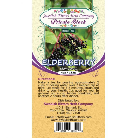 Elderberry (Sambucus nigra) Herbal Tea (4oz/113g) - Swedish Bitters Herb Company Private Stock