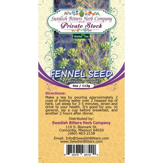 Fennel Seed (Foeniculum vulgare) Herbal Tea (4oz/113g) - Swedish Bitters Herb Company Private Stock
