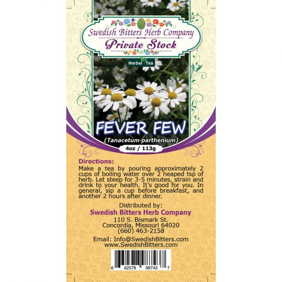 Feverfew Leaf (Tanacetum Parthenium) Herbal Tea (4oz/113g) - Swedish Bitters Herb Company Private Stock