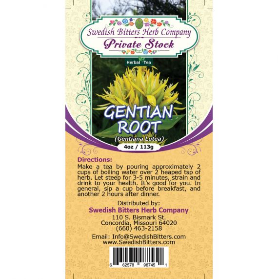 Gentian Root (Gentiana Lutea) Herbal Tea (4oz/113g) - Swedish Bitters Herb Company Private Stock