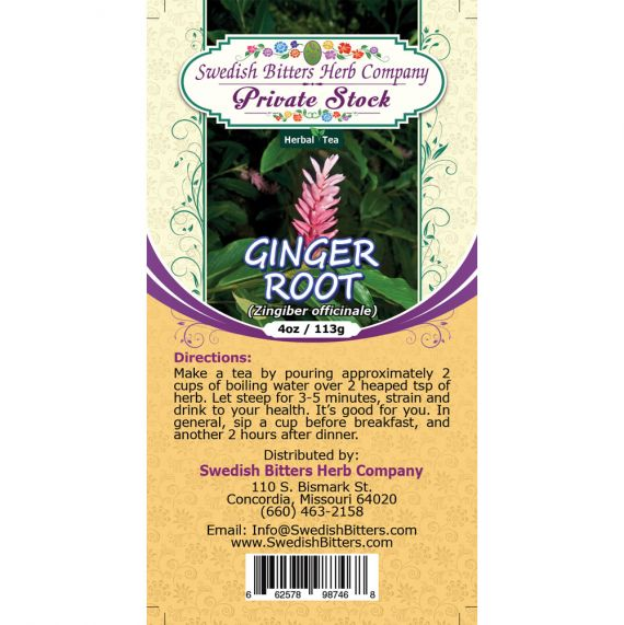 Ginger Root (Zingiber officinale) Herbal Tea (4oz/113g) - Swedish Bitters Herb Company Private Stock