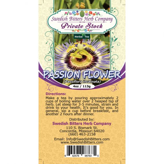 Passion Flower (Passiflora incarnata) Herbal Tea (4oz/113g) - Swedish Bitters Herb Company Private Stock