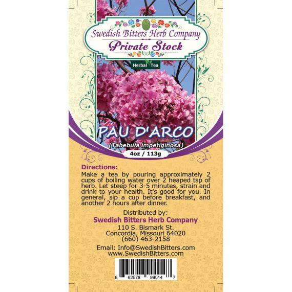 Pau D'Arco (Tabebuia impetiginosa) Herbal Tea (4oz/113g) - Swedish Bitters Herb Company Private Stock