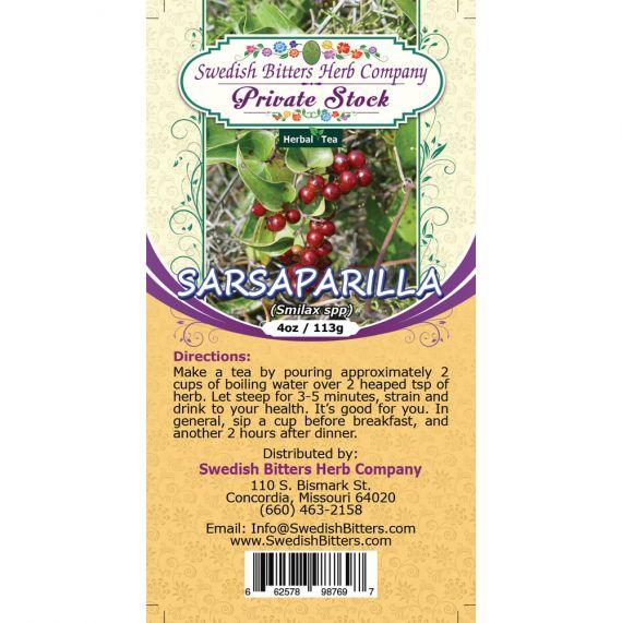 Sarsaparilla Root (Smilax Specie) Herbal Tea (4oz/113g) - Swedish Bitters Herb Company Private Stock