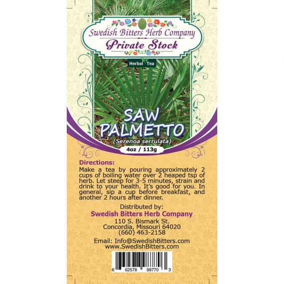 Saw Palmetto (Sarenoa Serrulata) Herbal Tea (4oz/113g) - Swedish Bitters Herb Company Private Stock