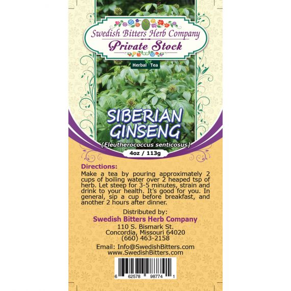 Siberian Ginseng (Eleutherococcus senticosus) Herbal Tea (4oz/113g) - Swedish Bitters Herb Company Private Stock