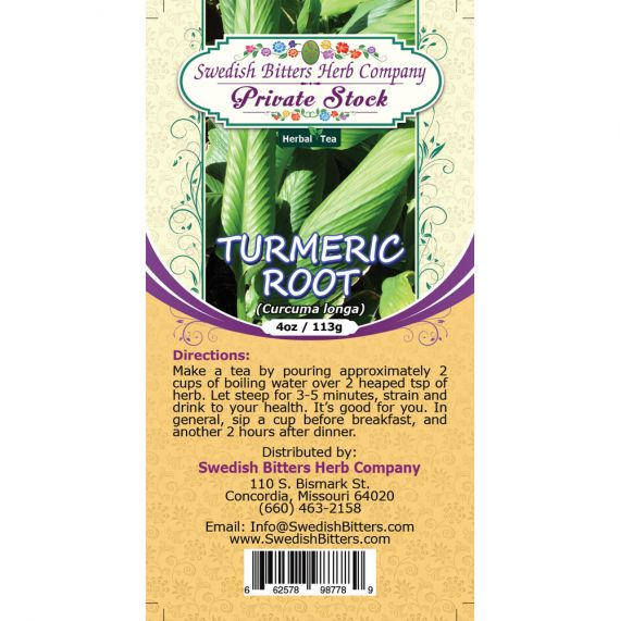 Turmeric Root (Curcuma Longa) Herbal Tea (4oz/113g) - Swedish Bitters Herb Company Private Stock