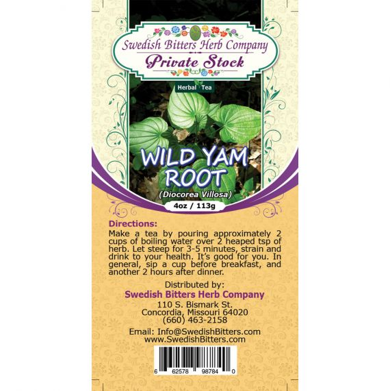 Wild Yam Root (Dioscorea Villosa) Herbal Tea (4oz/113g) - Swedish Bitters Herb Company Private Stock