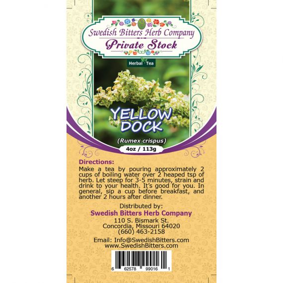 Yellow Dock (Rumex crispus) Herbal Tea (4oz/113g) - Swedish Bitters Herb Company Private Stock