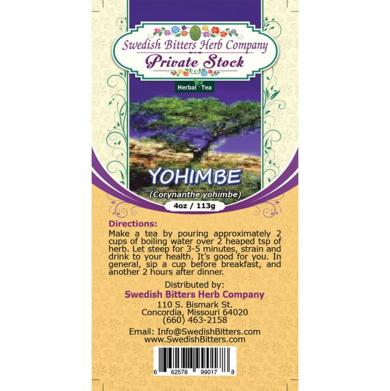 Yohimbe (Pausinystalia yohimbe) Herbal Tea (4oz/113g) - Swedish Bitters Herb Company Private Stock