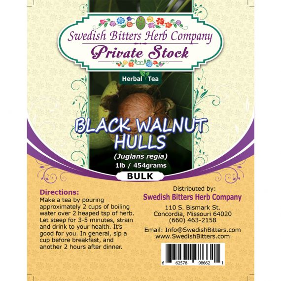 Black Walnut Hulls - Green stage (Juglans nigra) Herbal Tea (1lb/454g) BULK - Swedish Bitters Herb Company Private Stock