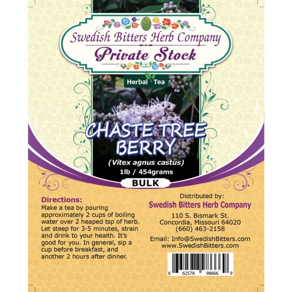 Chaste Tree Berry (Vitex agnus castus) Herbal Tea (1lb/454g) BULK - Swedish Bitters Herb Company Private Stock