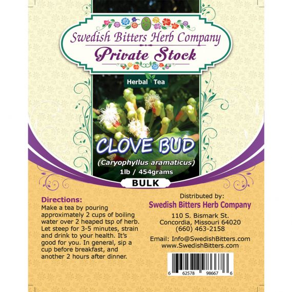 Clove Bud (Eugenia caryophyllata) Herbal Tea (1lb/454g) BULK - Swedish Bitters Herb Company Private Stock