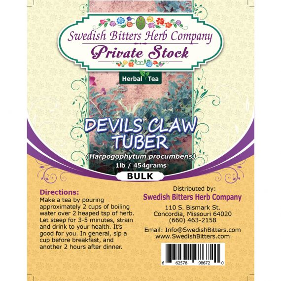 Devil's Claw Tuber (Harpagophytum procumbens) Herbal Tea (1lb/454g) BULK - Swedish Bitters Herb Company Private Stock