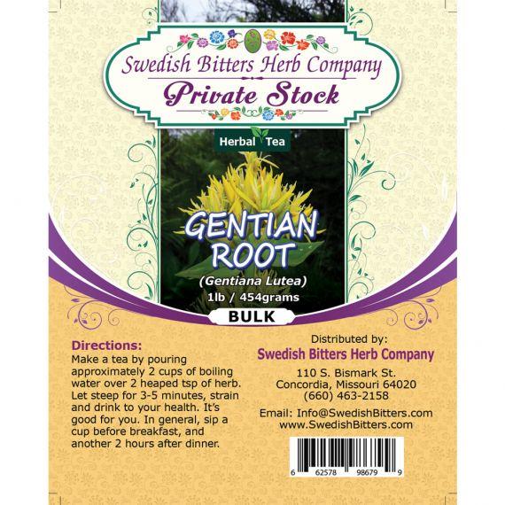Gentian Root (Gentiana Lutea) Herbal Tea (1lb/454g) BULK - Swedish Bitters Herb Company Private Stock