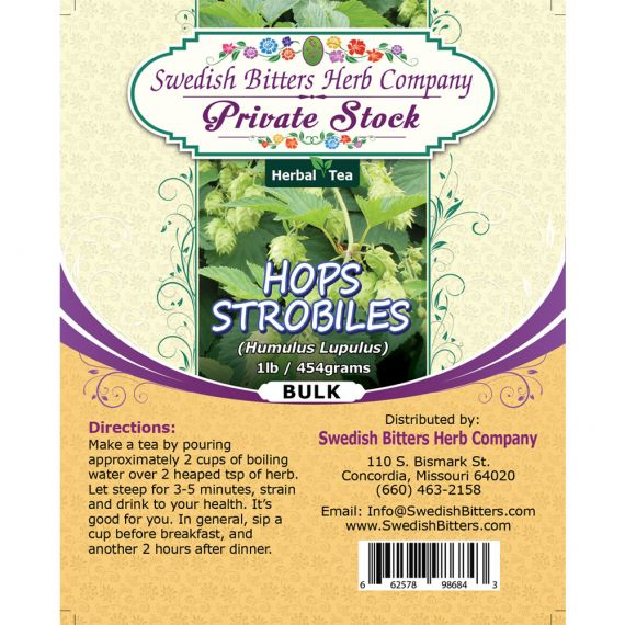 Hops Strobiles (Humulus Lupulus) Herbal Tea (1lb/454g) BULK - Swedish Bitters Herb Company Private Stock