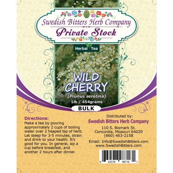 Wild Cherry Bark (Prunus Serotina) Herbal Tea (1lb/454g) BULK - Swedish Bitters Herb Company Private Stock