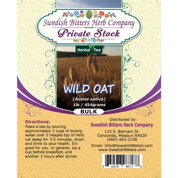 Wild Oat (Avena sativa) Herbal Tea (1lb/454g) BULK - Swedish Bitters Herb Company Private Stock