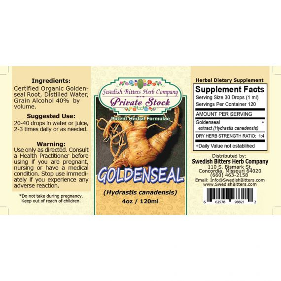 Goldenseal Root, tincture - (4oz/118ml) - Swedish Bitters Herb Company Private Stock
