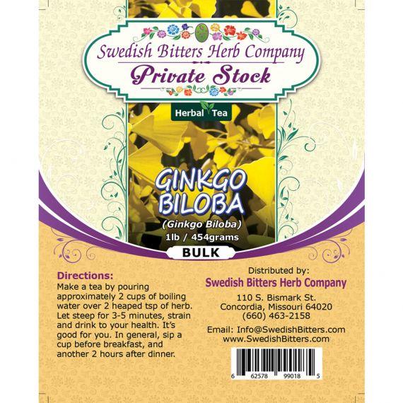 Ginkgo Leaf (Ginkgo Biloba) Herbal Tea (1lb/454g) BULK - Swedish Bitters Herb Company Private Stock