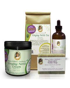 1 - Stinging Nettles Tea 1lb, 1 - Stinging Nettles Tincture 4oz, 1 - Stinging Nettles Cream, and 1 - Stinging Nettles Soap